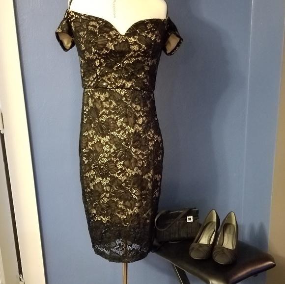 c9adf70e Bisou Bisou Dresses | Juniors Black Lace Dress With Blush Lining ...